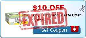$10.00 off Tidy Cats brand Breeze Litter System