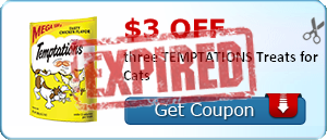 $3.00 off three TEMPTATIONS Treats for Cats