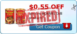 $0.55 off any two HORMEL Chili products