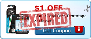 $1.00 off REACH Total Care, Dentotape or Flosser