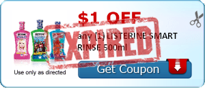 $1.00 off any (1) LISTERINE SMART RINSE 500ml