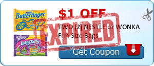 $1.00 off TWO (2) NESTLE or WONKA Fun Size Bags