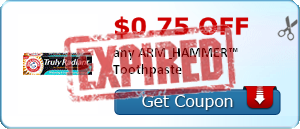 $0.75 off any ARM & HAMMER™ Toothpaste
