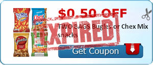 $0.50 off TWO BAGS Bugles or Chex Mix snacks