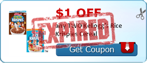 $1.00 off any TWO Kellogg's Rice Krispies Cereal