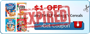 $1.00 off any THREE Kellogg's Cereals
