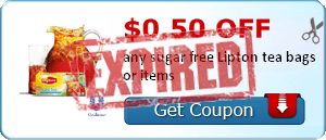 $0.50 off any sugar free Lipton tea bags or items