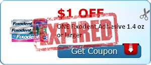 $1.00 off ONE Fixodent Adhesive 1.4 oz or larger