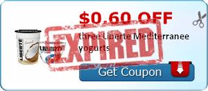 $0.60 off three Liberte Mediterranee yogurts
