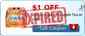 $1.00 off one six pack of Snapple Tea or Juice