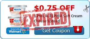 $0.75 off 1 PHILADELPHIA Soft Cream Cheese Spread