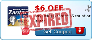 $6.00 off any ONE (1) Zantac 65 count or larger