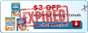 $3.00 off any THREE Kellogg's Cereals