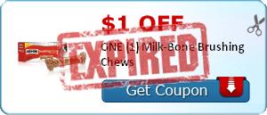 $1.00 off ONE (1) Milk-Bone Brushing Chews