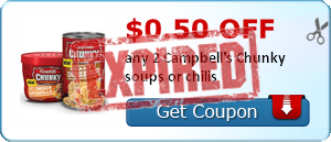 $0.50 off any 2 Campbell's Chunky soups or chilis