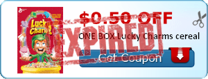 $0.50 off ONE BOX Lucky Charms cereal