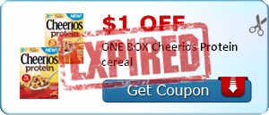 $1.00 off ONE BOX Cheerios Protein cereal