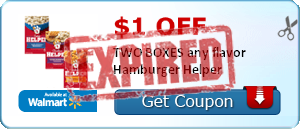 $1.00 off TWO BOXES any flavor Hamburger Helper
