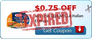 $0.75 off any ONE (1) BARILLA Italian Entrees