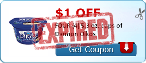 $1.00 off FOUR (4) 5.3 oz. cups of Dannon Oikos