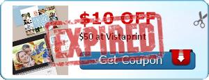 $10.00 off $50 at Vistaprint