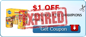 $1.00 off PEDIGREE LITTLE CHAMPIONS Pouch