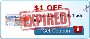 $1.00 off one package of Hefty Trash Bags