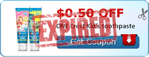 $0.50 off ONE Crest Kid's toothpaste