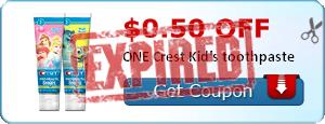 $0.50 off ONE Crest Kid's toothpaste