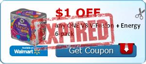 $1.00 off any ONE V8 V-Fusion + Energy 6-pack