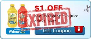 $1.00 off any TWO V8 Splash juice drinks, 64oz