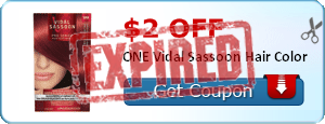 $2.00 off ONE Vidal Sassoon Hair Color