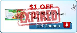 $1.00 off ONE (1) JENNIE-O Frozen Turkey Burgers