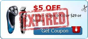 $5.00 off Philips Norelco Razor $29 or higher