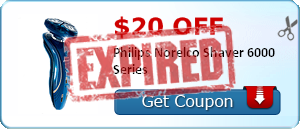 $20.00 off Philips Norelco Shaver 6000 Series