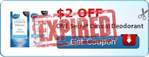 $2.00 off ONE Secret Clinical Deodorant
