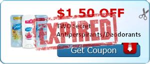$1.50 off TWO Secret Antiperspirants/Deodorants
