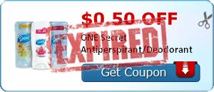 $0.50 off ONE Secret Antiperspirant/Deodorant