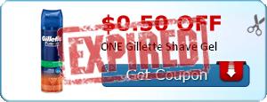 $0.50 off ONE Gillette Shave Gel