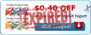$0.40 off any six cups of Yoplait Yogurt