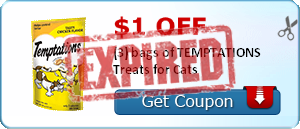 $1.00 off (3) bags of TEMPTATIONS Treats for Cats