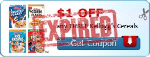 $1.00 off any THREE Kellogg's Cereals