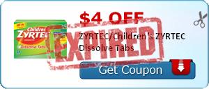 $4.00 off ZYRTEC/Children's ZYRTEC Dissolve Tabs