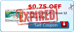$0.75 off 1 Angel Soft Bath Tissue 12 Jumbo Pack