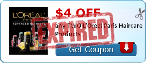 $4.00 off any TWO L'Oreal Paris Haircare Products