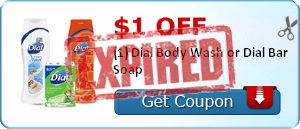 $1.00 off (1) Dial Body Wash or Dial Bar Soap