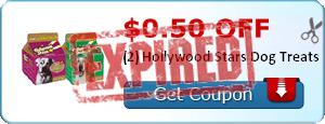 $0.50 off (2) Hollywood Stars Dog Treats