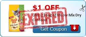 $1.00 off ONE (1) bag of Meow Mix Dry Cat Food