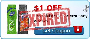 $1.00 off TWO Dial or Dial for Men Body Washes