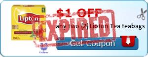 $1.00 off any two (2) Lipton Tea teabags